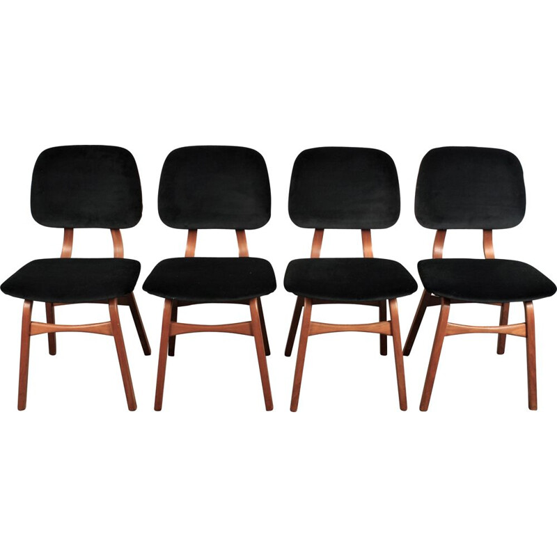 Set of 4 vintage  bentwood dininf chairs with velvet Dutch