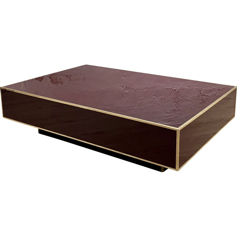 Vintage coffee table in burgundy and brass color Jean-Claude Mahey