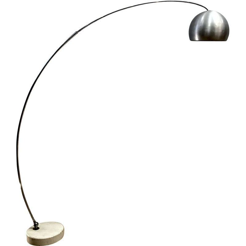 Vintage Arco floor lamp in brushed stainless steel with travertine base 1970