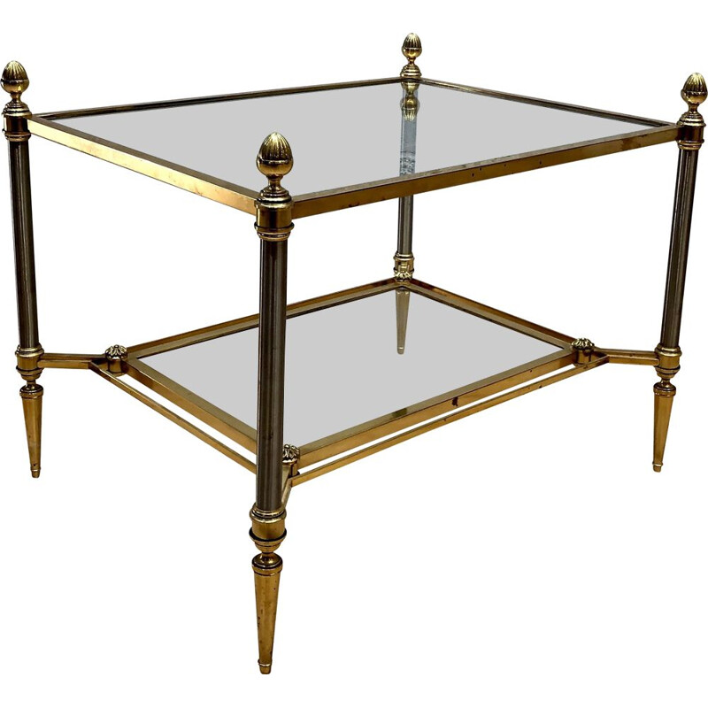 Vintage coffee table in bronze and neoclassical glass Maison Jansen 1970