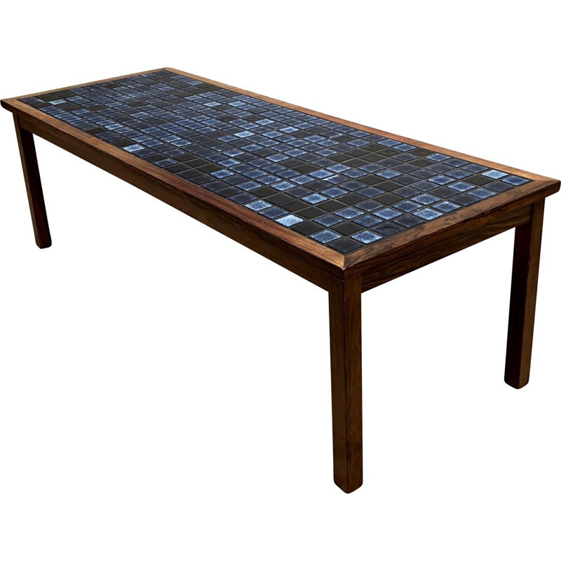 Vintage rosewood and blue enamelled ceramic table by Johannes Andersen Silkeborg 1960