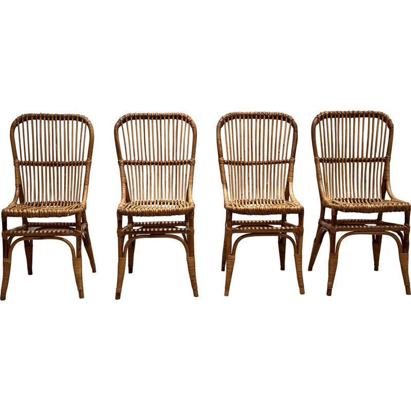Set of 4 vintage rattan chairs 1960