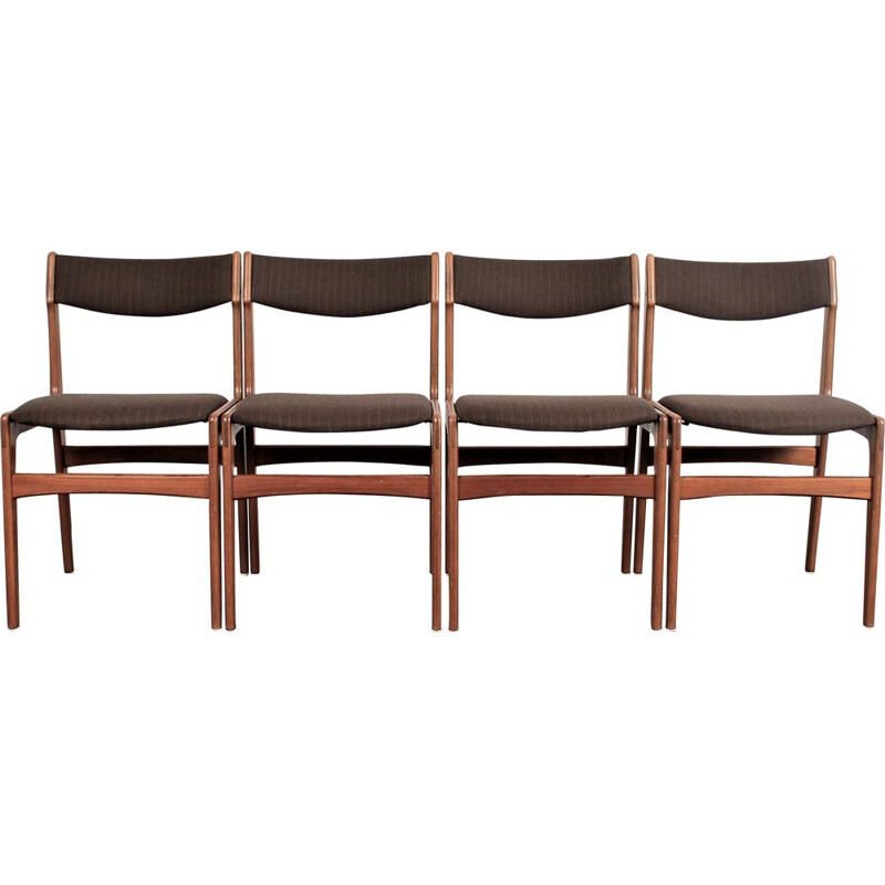 Set of 4 vintage teak chairs by Erik Buch for Anderstrup