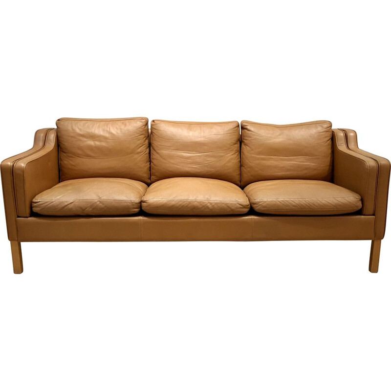 Vintage leather sofa Stouby model Borge Mogensen 1960