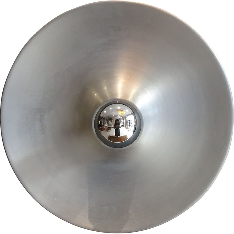 Vintage brushed aluminum wall light from Les Arcs 1970