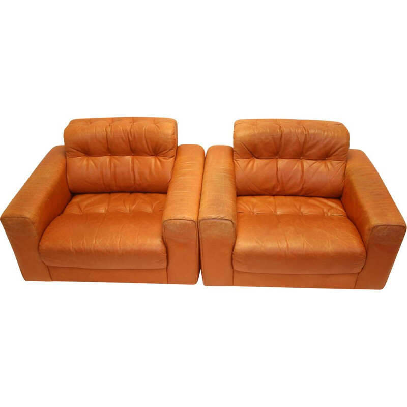 Pair of Vintage DS40 Club chair from de Sede Cognac leather 1970s