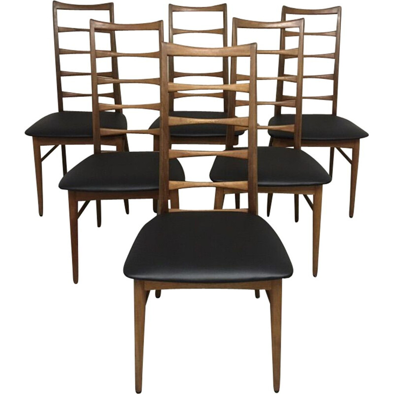 Set of 6 vintage teak chairs Lis Niels Koefoeds 1960