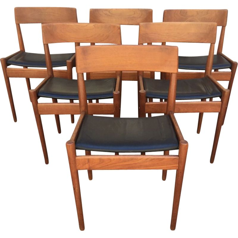 Set of 6 vintage leather and teak chairs Grete Jalk 1960