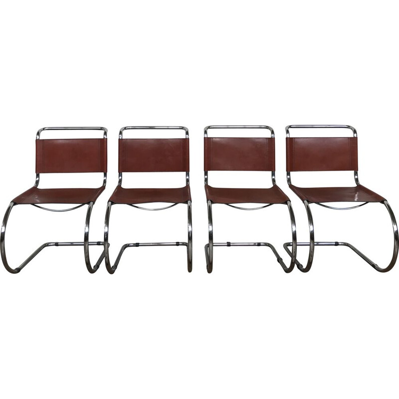 4 vintage chairs Breuer mr10 Ludwig mies Van Der Rohe chrome structure leather seat 1980