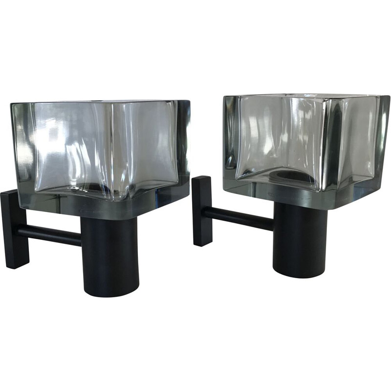 Pair of vintage wall lights by Flavio Poli for Seguso in Murano glass 1960