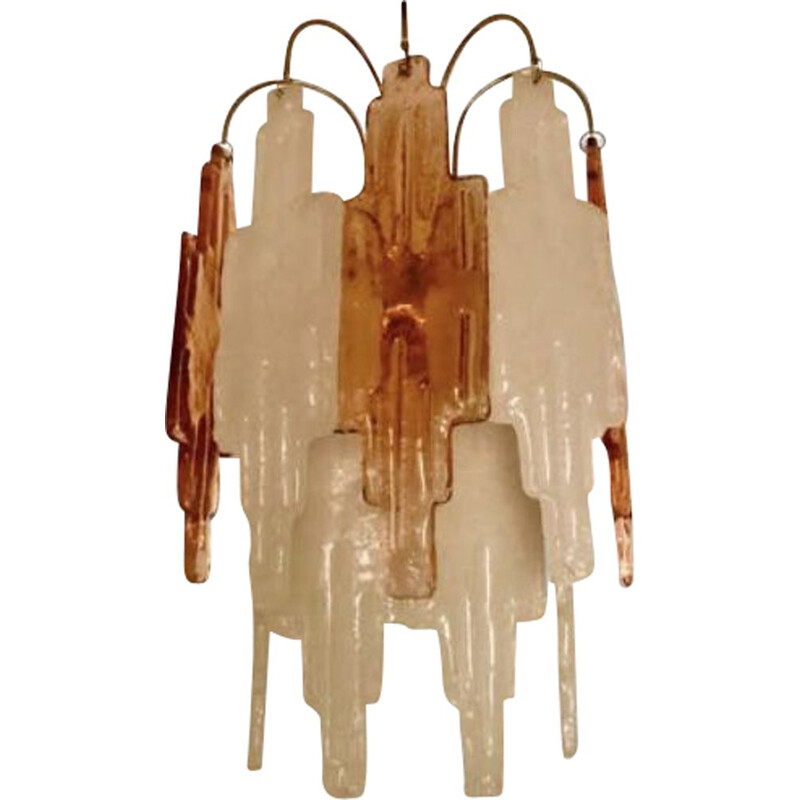 Poliarte vintage wall lamp in two-tone  Murano glass 1970