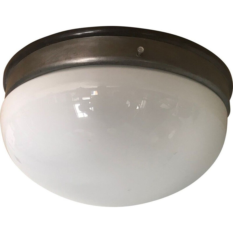 Vintage metal and plastic round ceiling light