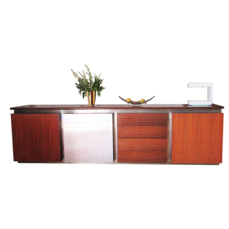 Modular Acerbis sideboard in mahogany and inox, Giotto STOPPINO - 1977