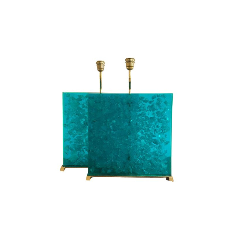 Pair of vintage turquoise fractal resin lamps, 1980