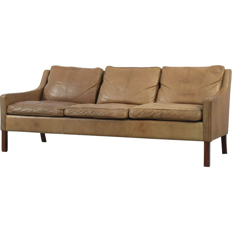 Vintage Swedish Patinated Cognac Leather Sofa by OPE Möbler 1960s