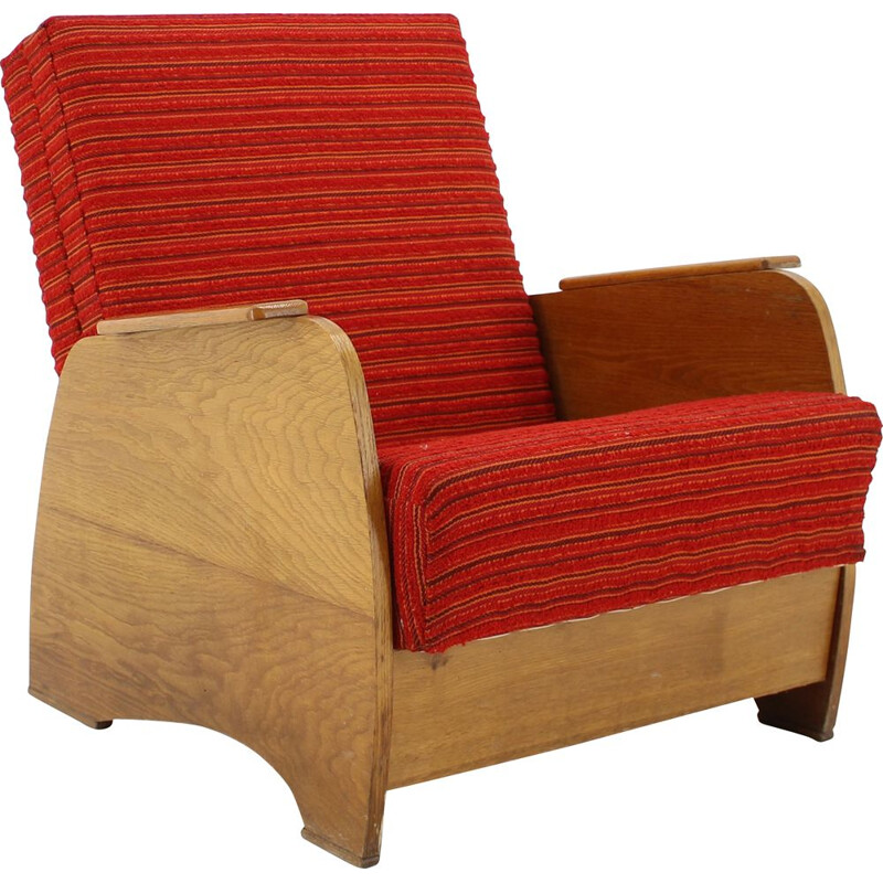 Vintage Armchair convertible to Daybed Czechoslovakia 1960s