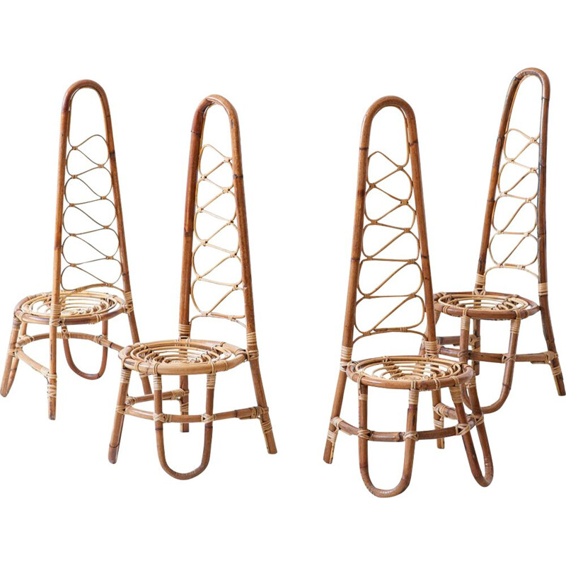 Set of 4 vintage Italian Rattan chairs 1950s