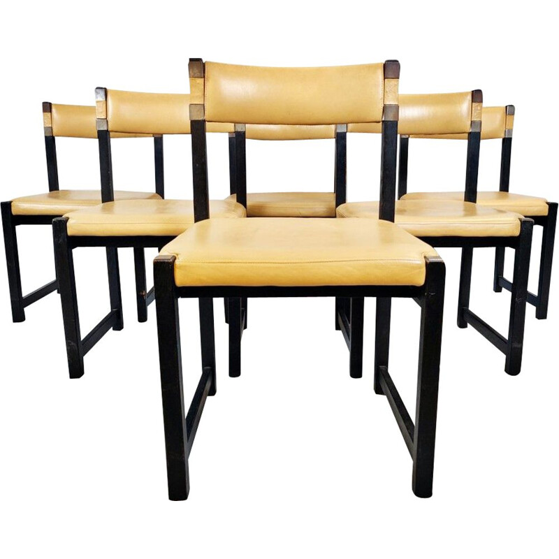 Set of 6 vintage chairs in wood and leather 1970s