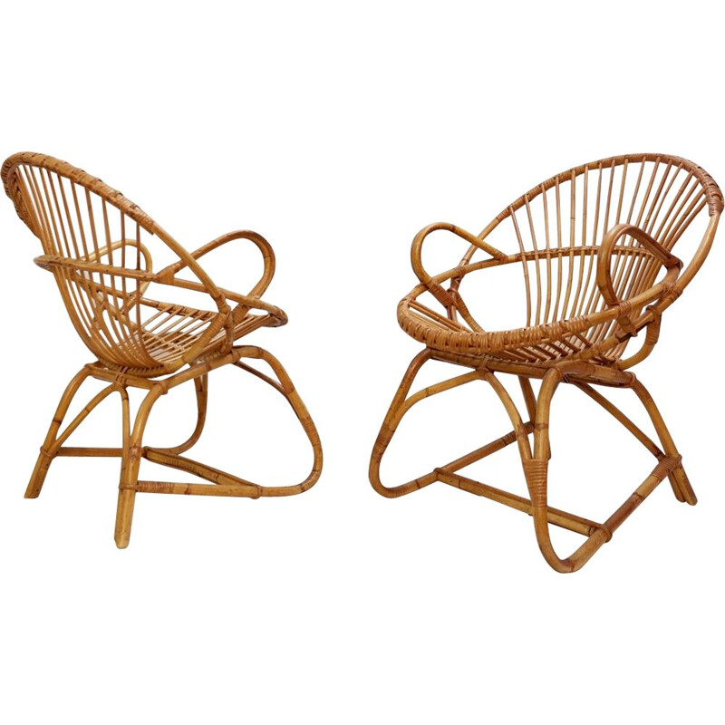 Pair Of Vintage Bamboo And Rattan Chairs France 1960s