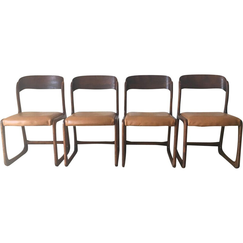 Set of 4 vintage chairs Baumann Bémol 1960s