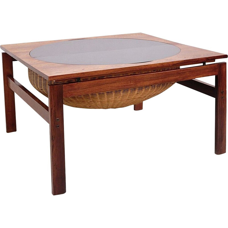 Vintage Brazilian rosewood sewing table 1960s
