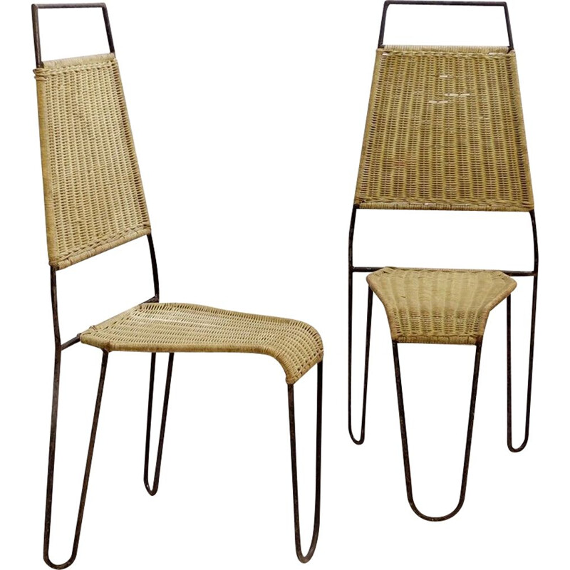 Pair of vintage chairs wicker and steel Raoul Guys For Airborne 1950s