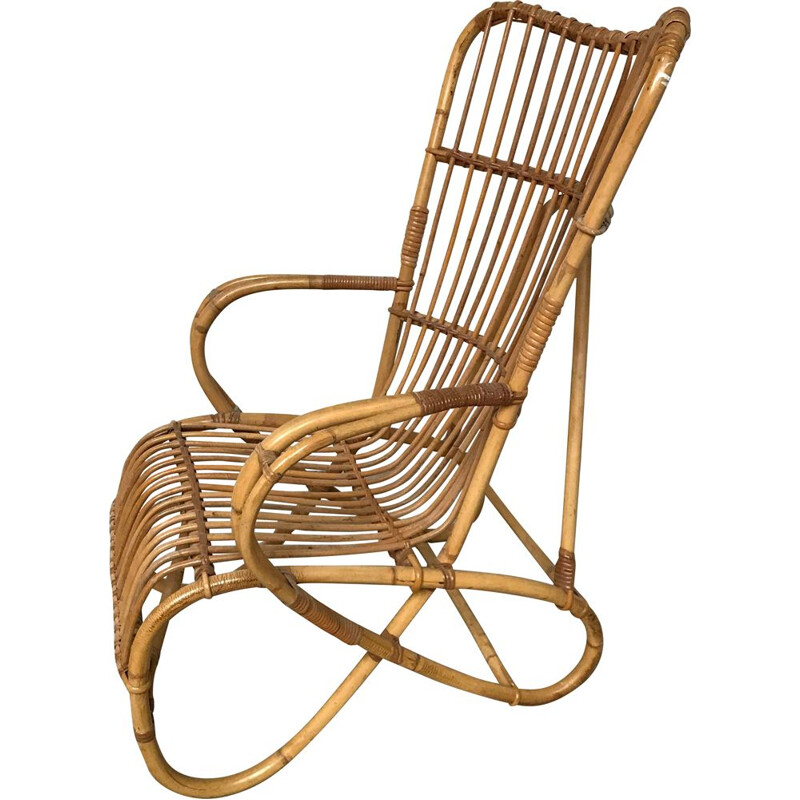 Vintage rattan and bamboo armchair 1960