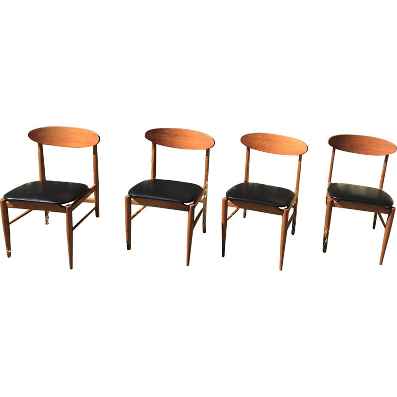 Set of 4 vintage Scandinavian teak and Skai 1960 chairs