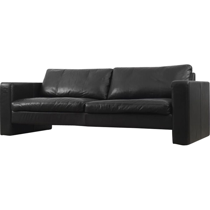 Vintage Conseta sofa in black leather by Friedrich Wilhelm Möller for the COR 1964