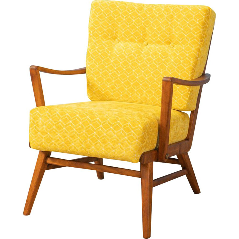 Vintage yellow armchair Germany 1950