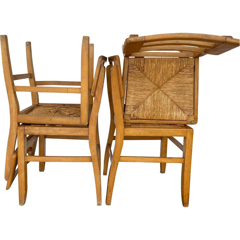 Set of 4 vintage chairs Pierre Cruège 1950s