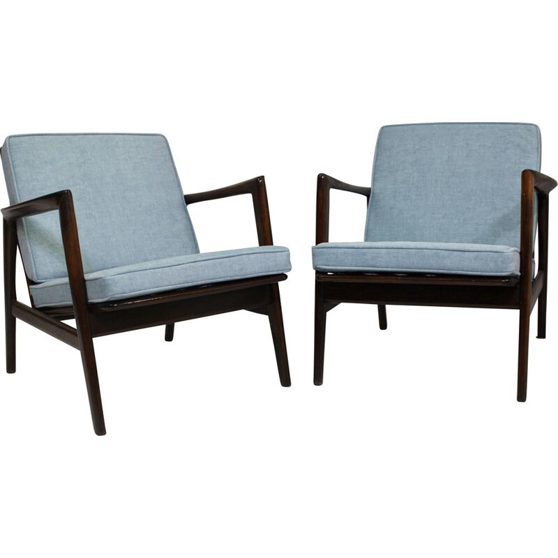 Pair of vintage armchairs by Stefan from Swarzędzkie Fabryki Mebli 1960s