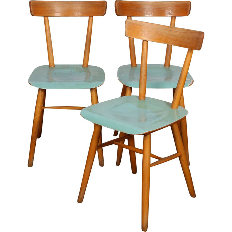 Lot of 3 vintage blue chairs by Ton 1960s