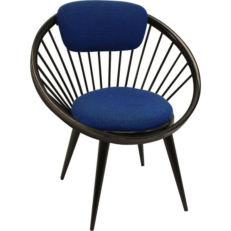Vintage yngve ekstrom circle chair Black bleu 1960s