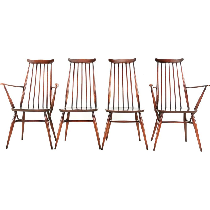 Set Of 4 Vintage Ercol Elm & Beech Goldsmith Dining Chairs 1960s