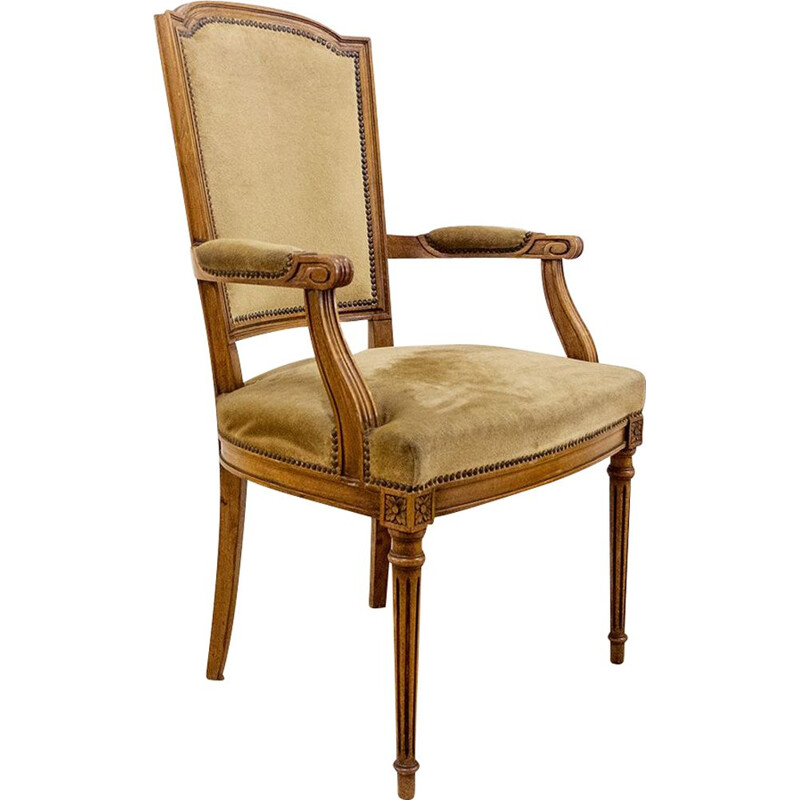Vintage Louis XVI Oak Arm Chair Spain 1940s