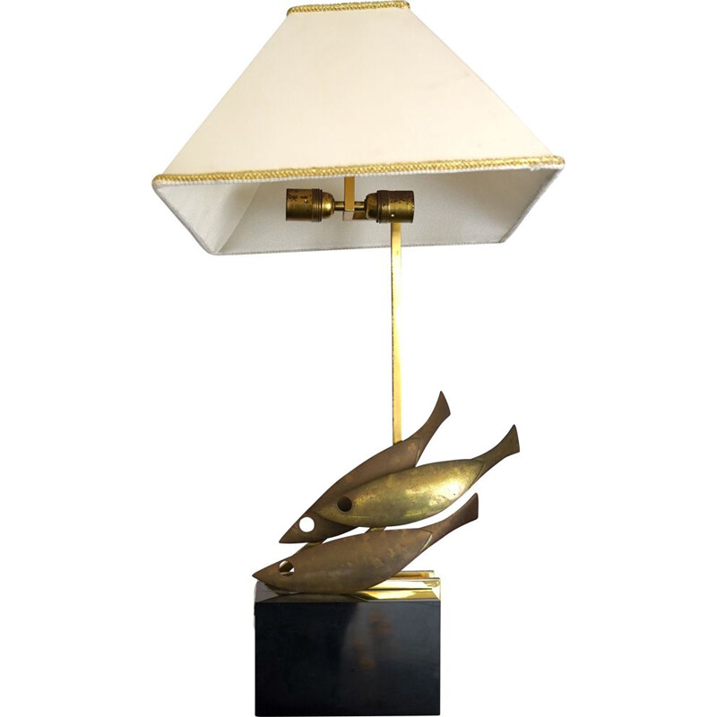 Midcentury Italian brass table lamp by Pragos 1970s