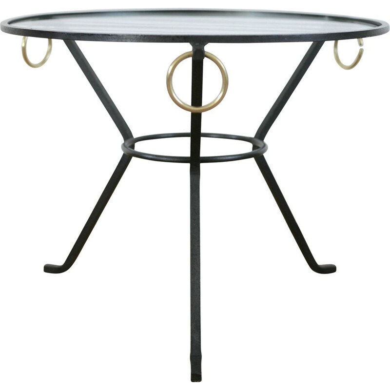 Vintage coffee table by Jacques Adnet in black lacquered metal, glass and brass France 1950