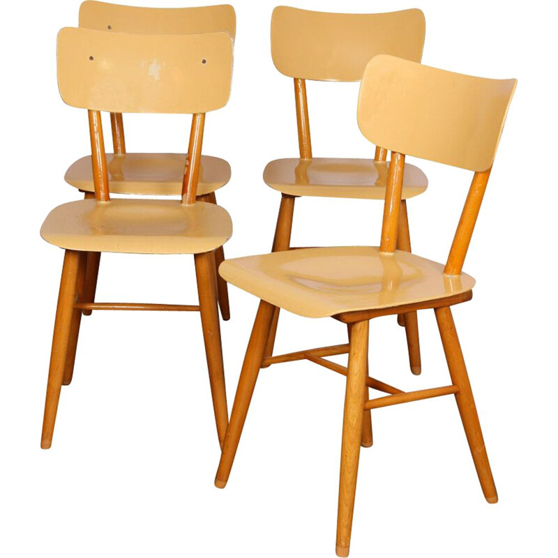 Set of 4 chairs by Ton, Czech Republic 1960