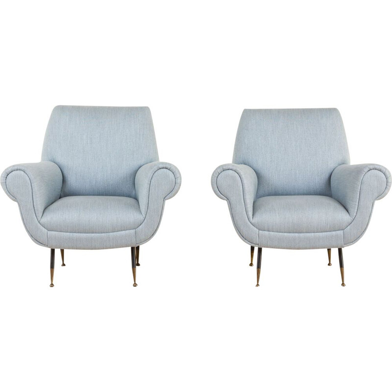 Pair of Gigi Radice Albert Vintage Lounge Armchairs for Minotti Italy 1950