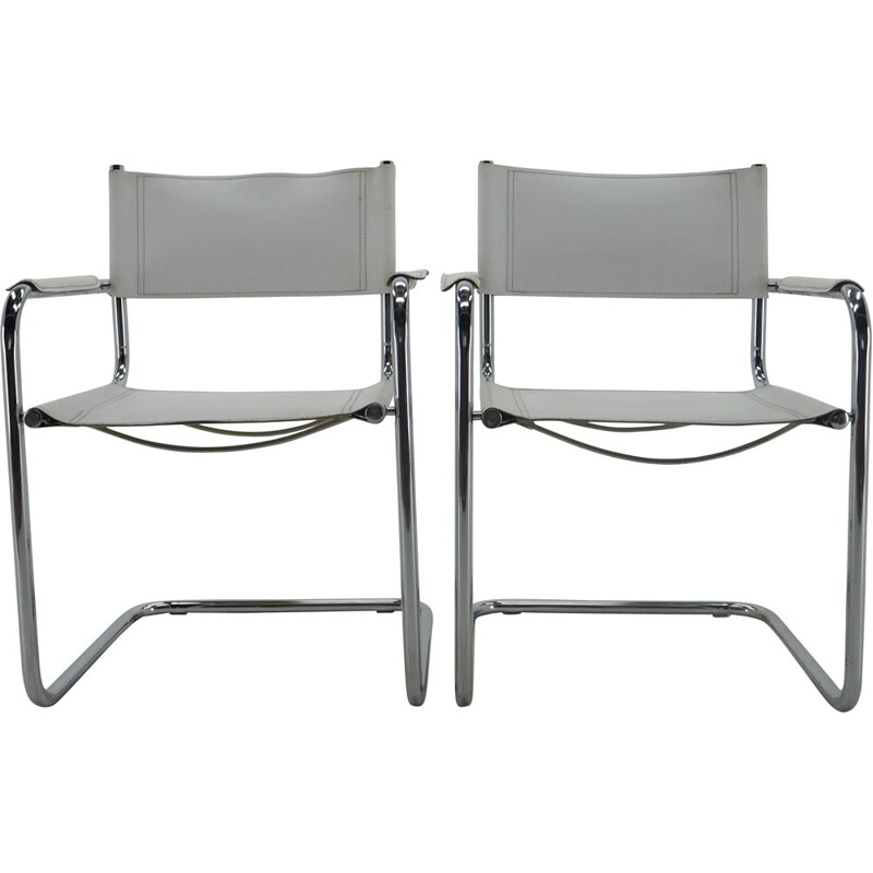 Pair of Midcentury chrome leather armchairs