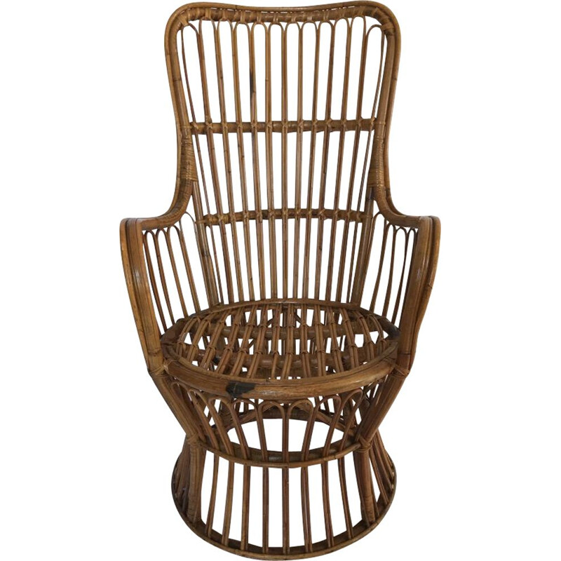 Vintage rattan armchair by Dal Vera Italy 1950s