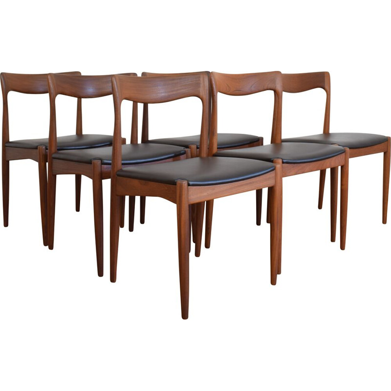 Set of 6 vintage Danish teak and leather chairs by Arne Vodder for Vamo 1960