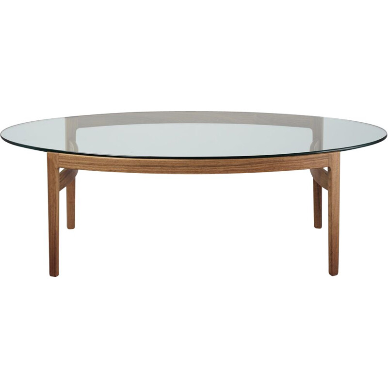 Vintage elliptical coffee table by Ib Kofod-Larsen for Fröscher Germany 1970