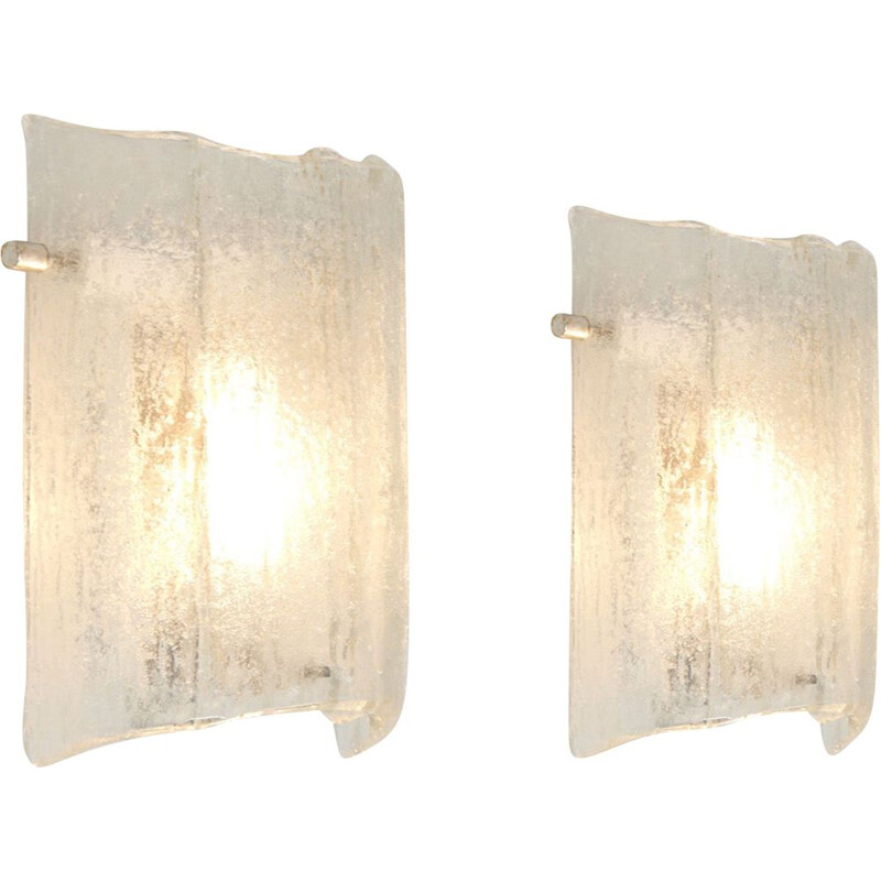 Pair of vintage wall lights in ice glass Kaiser Leuchten Germany 1970