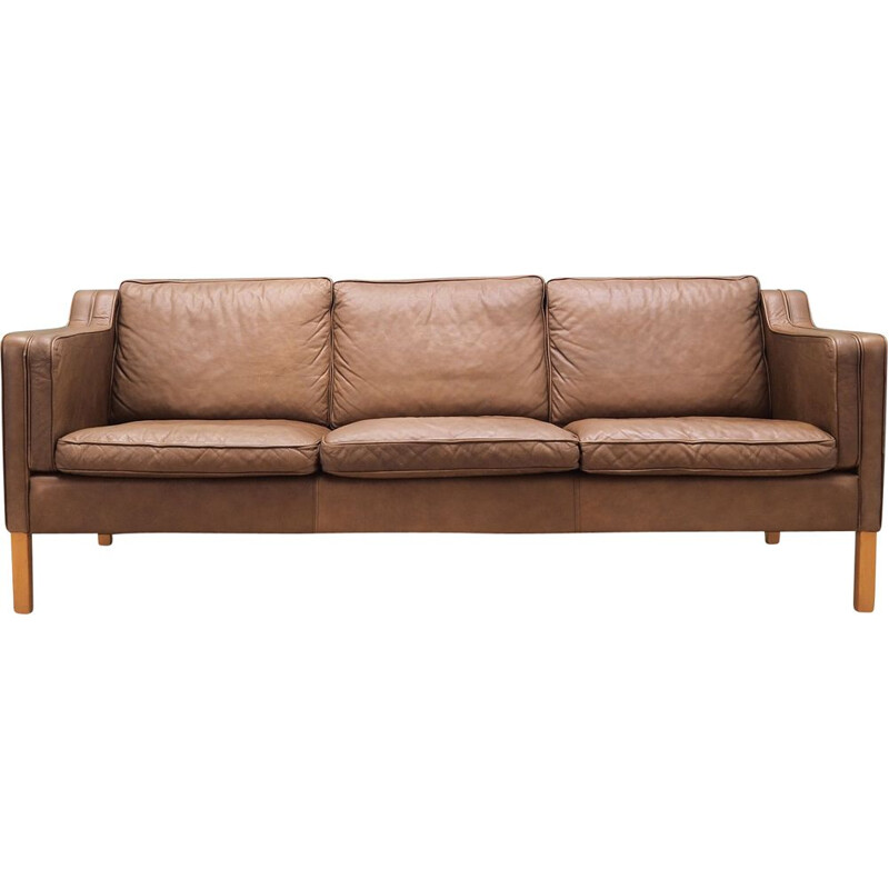 Vintage brown leather sofa Mogensen Koch Denmark 1960