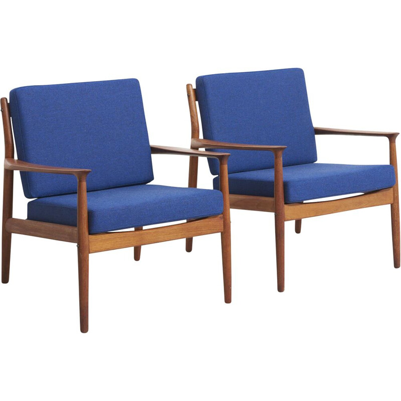 Pair of vintage teak armchairs by Grete Jalk for Glostrup Møbelfabrik Denmark 1960