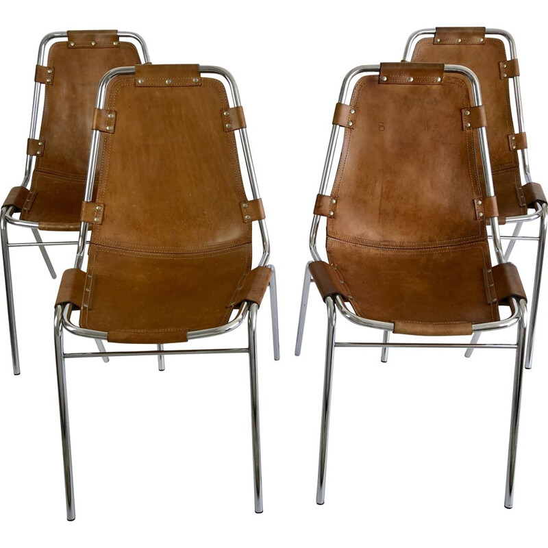 Set of 4 vintage leather chairs by Charlotte Perriand for the ski resort of Les Arcs 1960