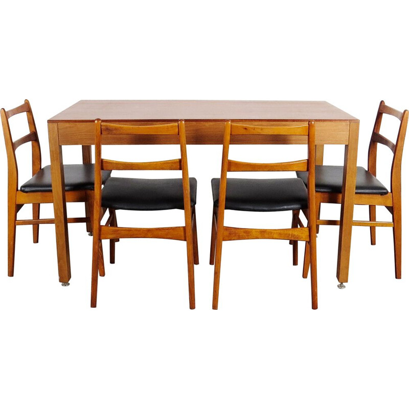 Vintage dining table set with 4 chairs by UP Zavody Czechoslovakia 1970