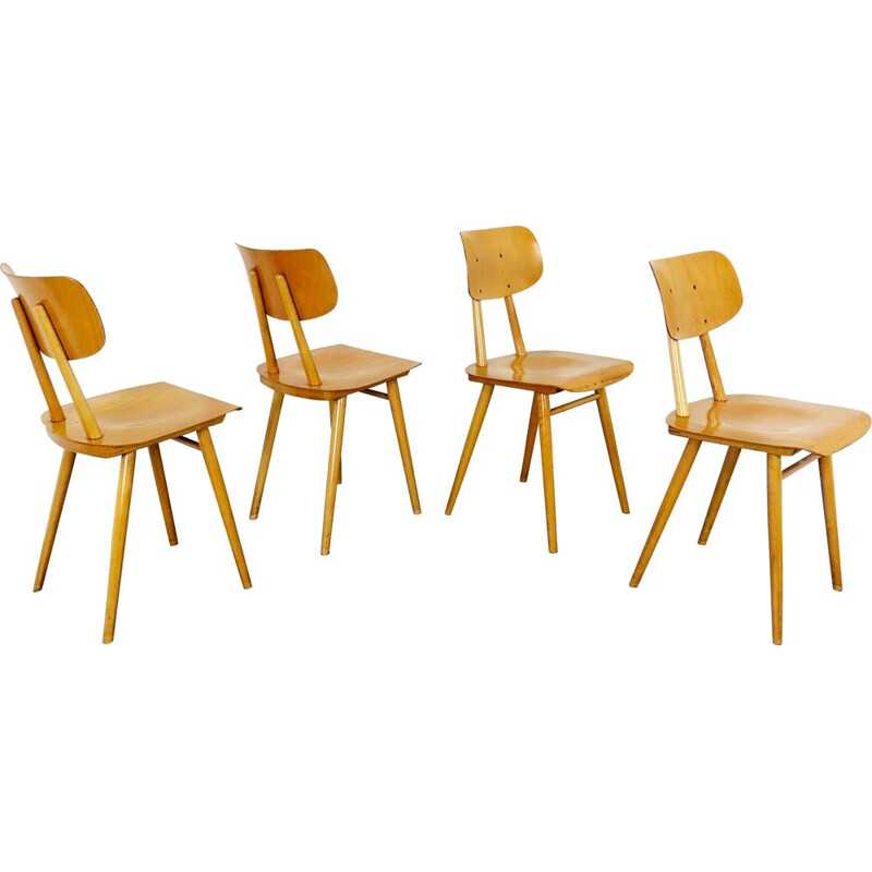 Set of 4 vintage chairs by Ton Czechoslovakia 1960